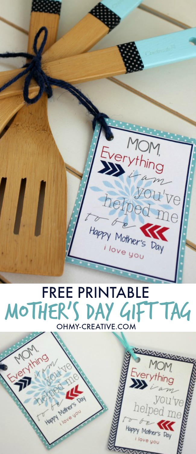 Color dipped wooden utensils free printable gift tag free printable mothers day gift tag for any mothers day gift perfect to add to negle Choice Image