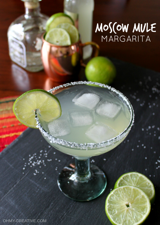 This Moscow Mule Margarita is a great twist to the very popular Moscow Mule! Made with tequila and fresh ingredients this drink is amazingly tasty...I love it! OHMY-CREATIVE.COM