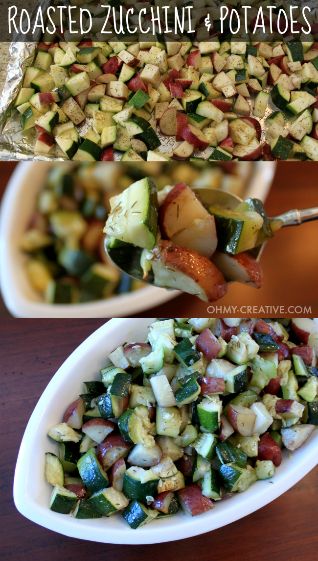 Roasted Zucchini and Potatoes - a collage showing three different pictures of this recipe