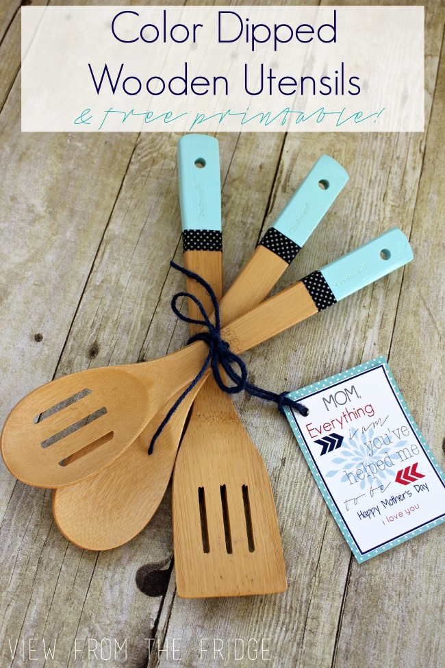 Color dipped wooden utensils free printable gift tag diy color dipped wooden utensils plus free printable mothers day gift tag negle Choice Image