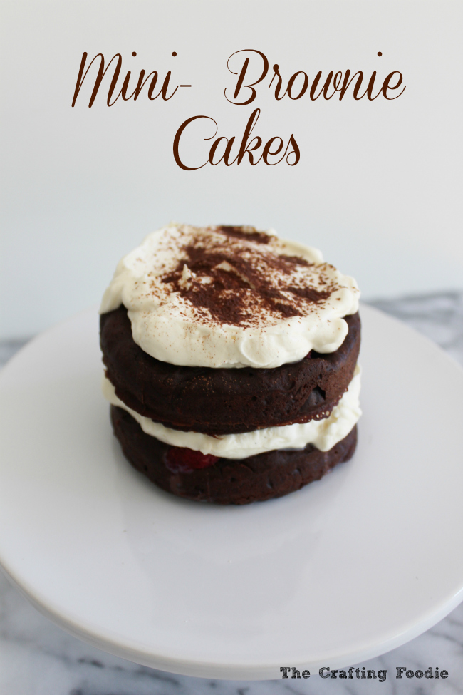 Mini-Brownie Cakes made with two, fudgy brownie layers studded with fresh raspberries and filled with lightly sweetened, fresh whipped cream. Need I say more! |The Crafting Foodie via OHMY-CREATIVE.COM