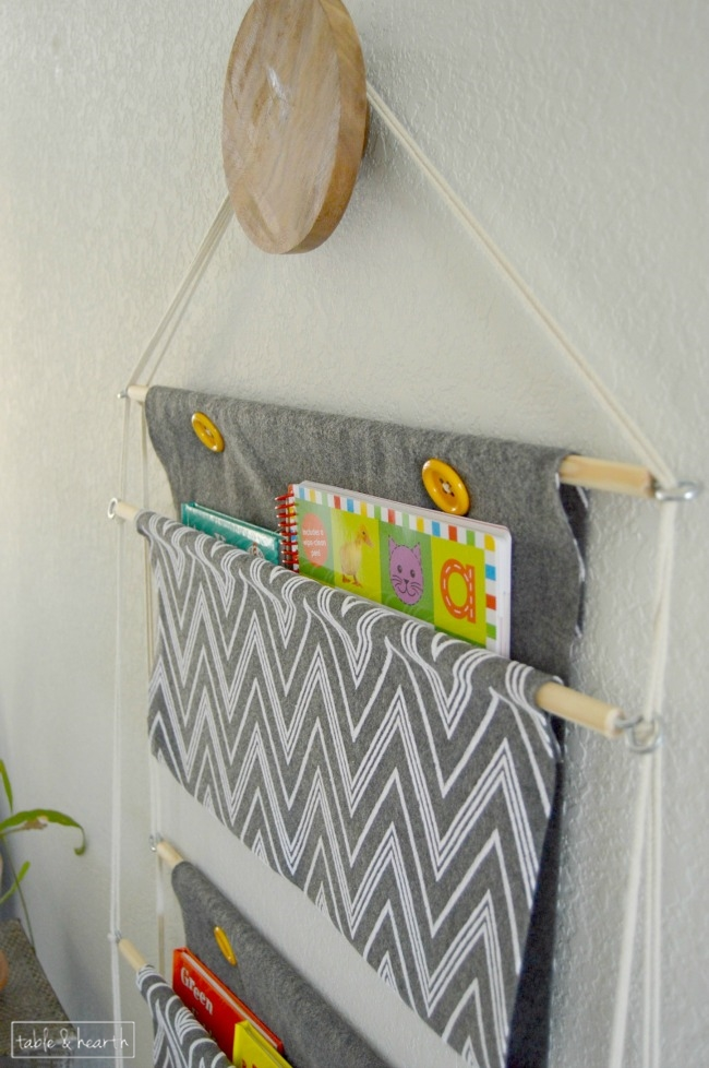 diy hanging book holder