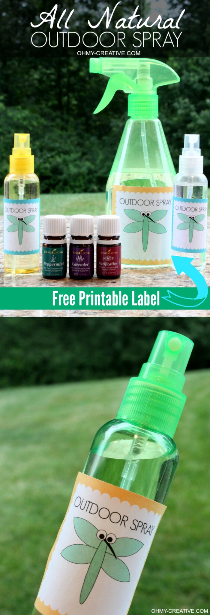 This easy to make Chemical Free Outdoor Spray is perfect when enjoying all outdoor activities and safe to spray all over the kids and family! I LOVE that it is all natural! Plus a Free Printable Label  |   OHMY-CREATIVE.COM