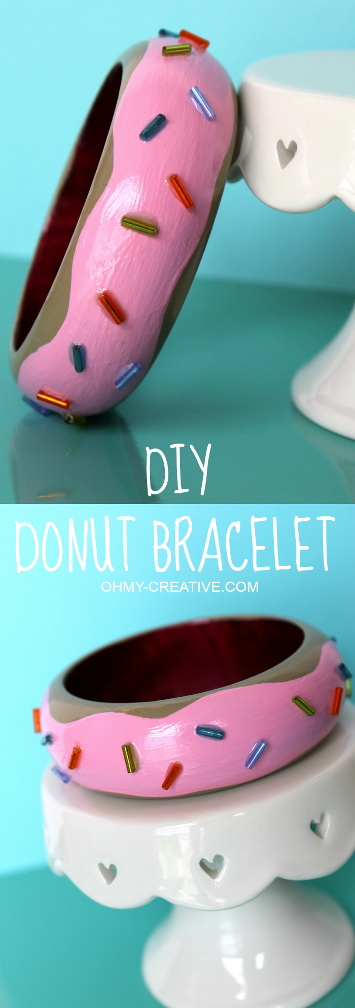 Fun DIY Donut Bracelet - dress it up or dress it down! It's a perfect  whimsical accessory!  |  OHMY-CREATIVE.COM