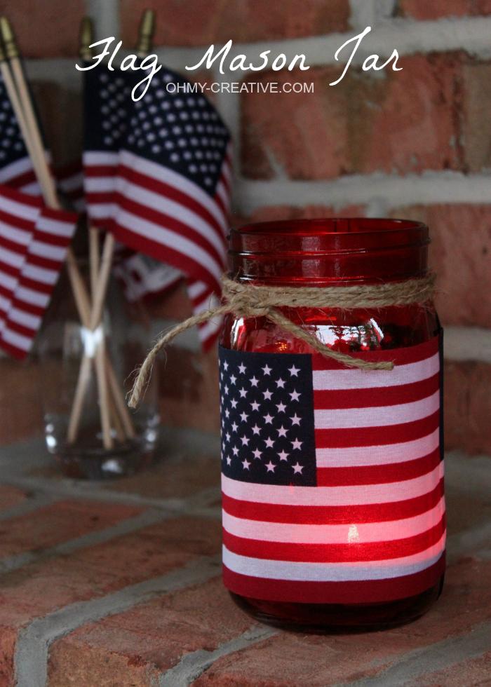 Flag mason jar candle holder oh my creative for Mason jar candle crafts