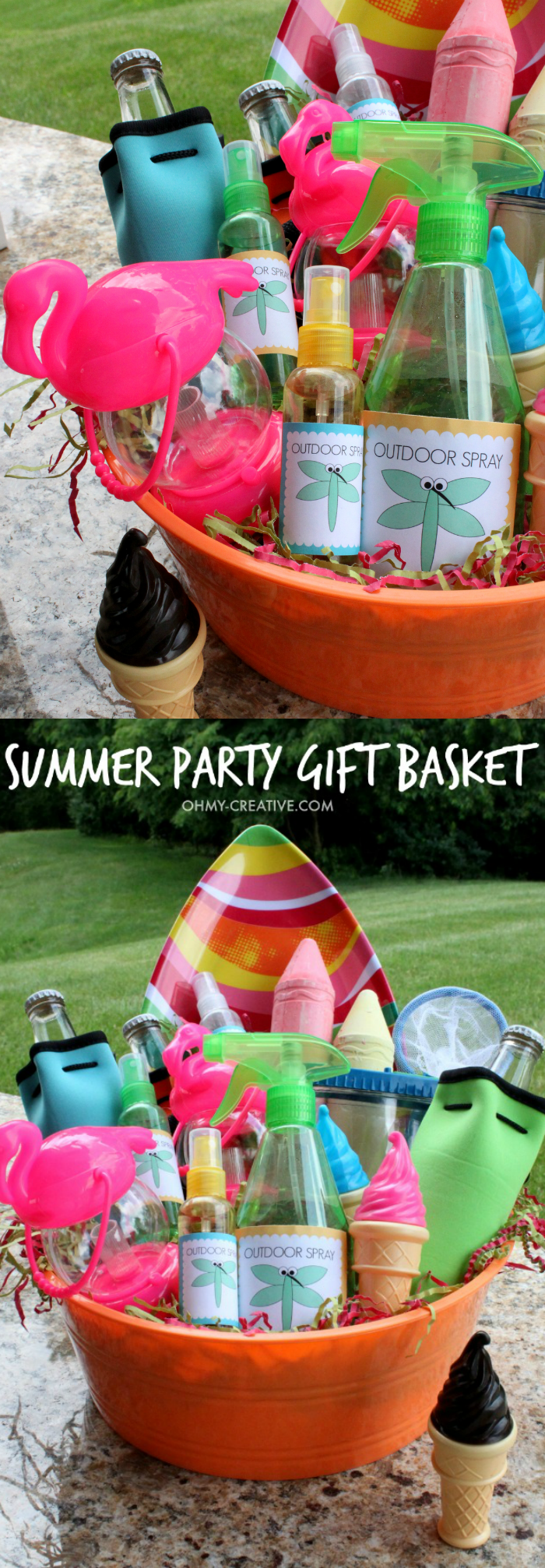 Summer party gift basket oh my creative for Holiday party gift ideas for the hostess