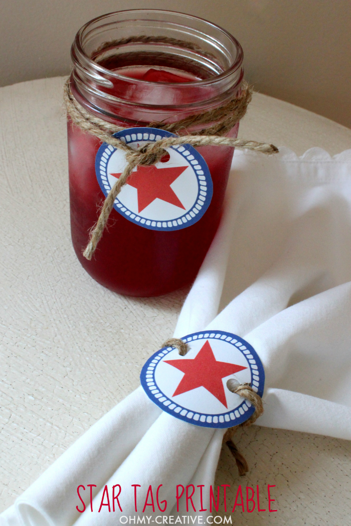 With a little twine, these FREE Star Printable are perfect to use as napkin rings or to decorate party drinks. Write the guests names on the back - no drink mix-ups! | OHMY-CREATIVE.COM