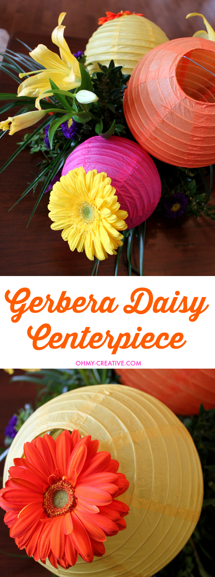 Gerbera daisies are one of my favorite flowers. The incredible vibrant blooms make them a perfect flower for so many occasions like this Gerbera Daisy Centerpiece! This gorgeous centerpiece is perfect for bridal showers, weddings and summer parties! I love the paper lanterns too!  |   OHMY-CREATIVE.COM