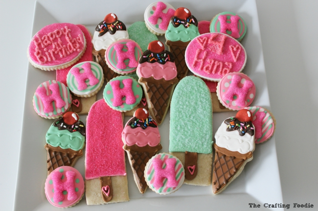 This whimsical set of Ice Cream Decorated Cookies starts with a soft, delicious sugar cookie base, and they're decorated with colorful royal icing. These cookies have all the fun of ice cream without any of the melted mess!  The Crafting Foodie for OHMY-CREATIVE.COM