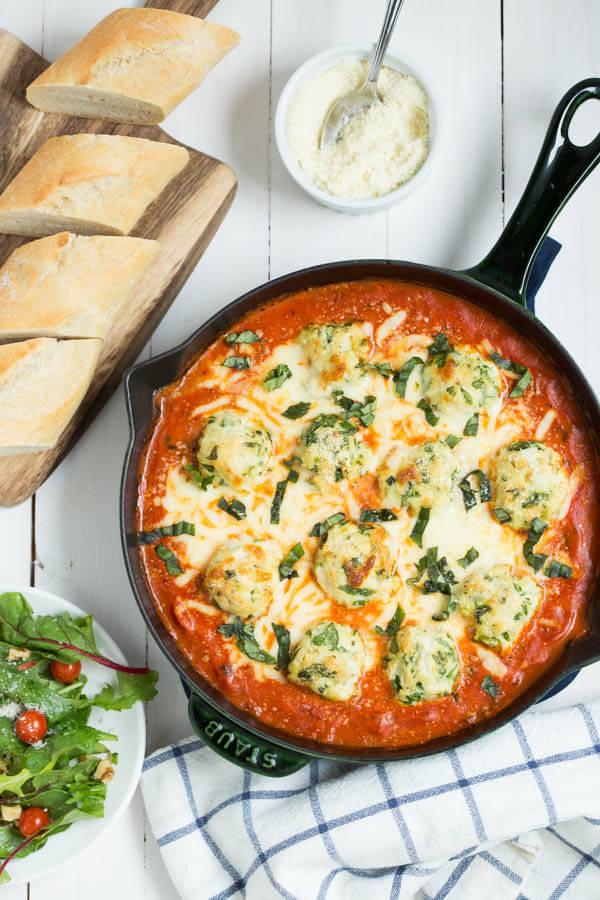 Spinach Chicken Parmesan Meatballs In Creamy Tomato Sauce