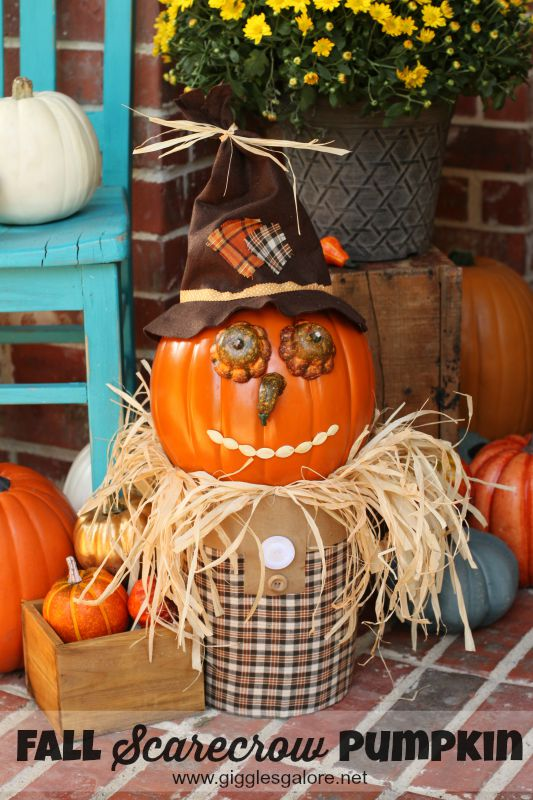 Fall Scarecrow Pumpkin for the front porch - Giggles Galore