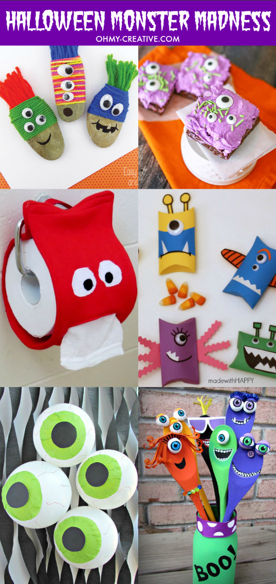 I love all the silly and not so scary Halloween crafts, projects and desserts for kids! Get creative with a little Halloween Monster Madness! Some of these crafts are so darn cute…this monster toilet paper cover is cracking me up! | OHMY-CREATIVE.COM