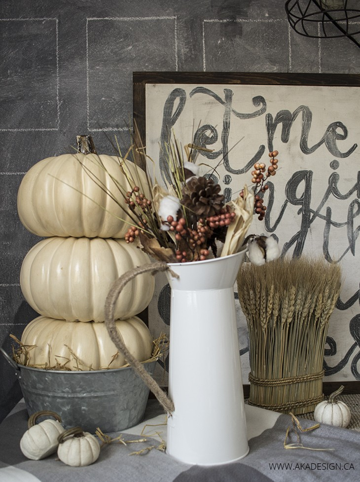 neutral fall vignette and stacked pumpkin tutorial