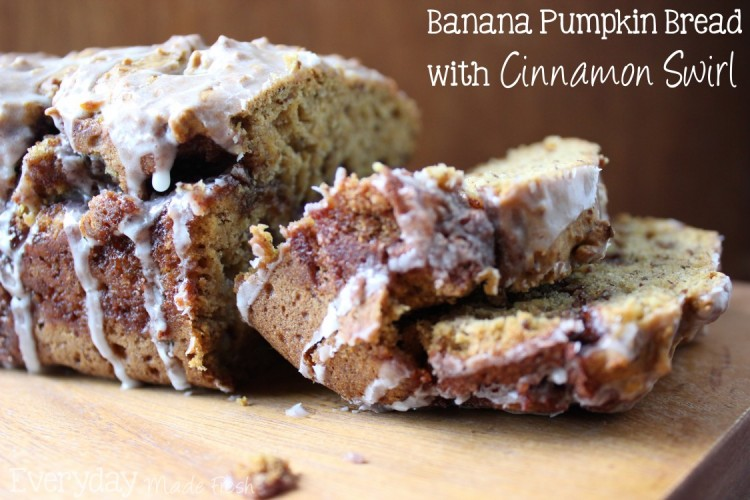 Banana bread with a fall punch of pumpkin flavor. Swirled through is a cinnamon and sugar mixture that your going to love. Top that with a vanilla glaze that ties this Banana Pumpkin Bread together. |Everyday Made Fresh via OHMY-CREATIVE.COM