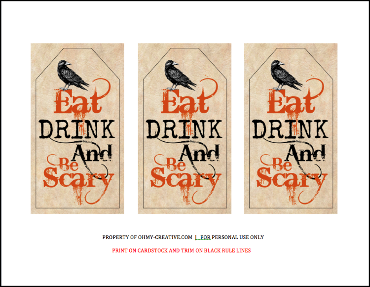 a perfect halloween hostess gift head off to the halloween party with this eat drink - Halloween Gift Tag