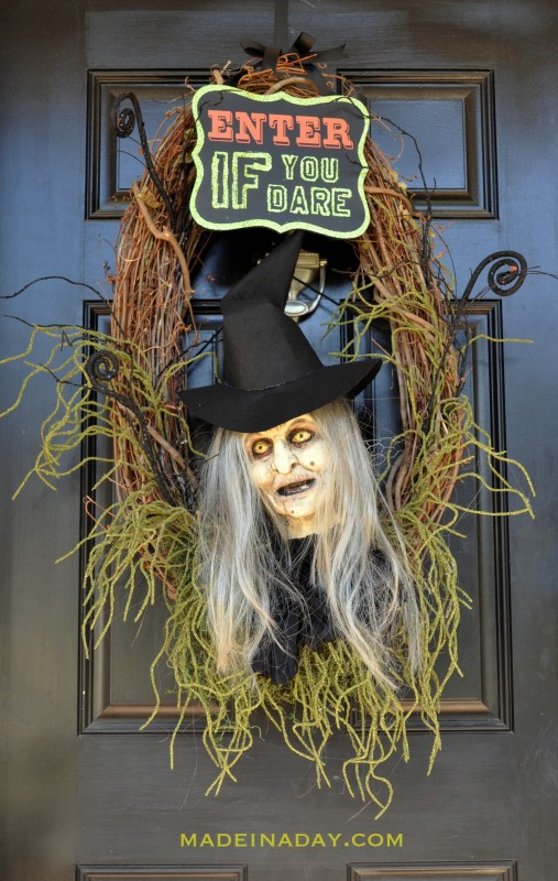 Halloween Witch Wreath Foam Head Prop Tutorial madeinaday.com