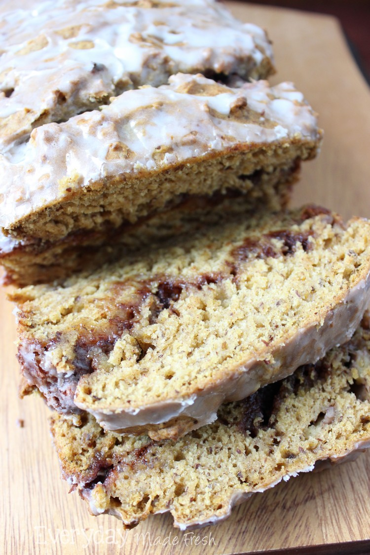 Banana Pumpkin Bread with Cinnamon Swirl