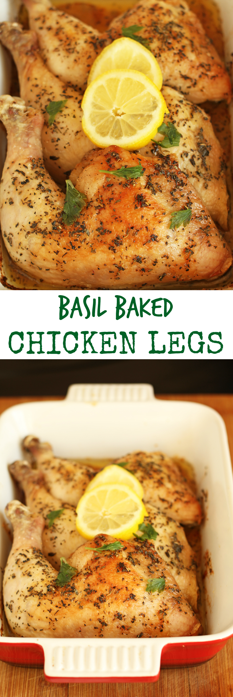 Easy to make Basil Baked Chicken Legs topped with butter I Oh My Creative