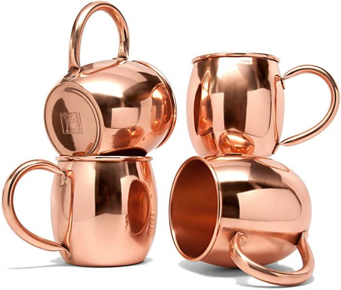 Coppertisan Barrel Full Copper Moscow Mule Mug, 18 oz - Set of 4 - Handmade of 100% Pure Copper