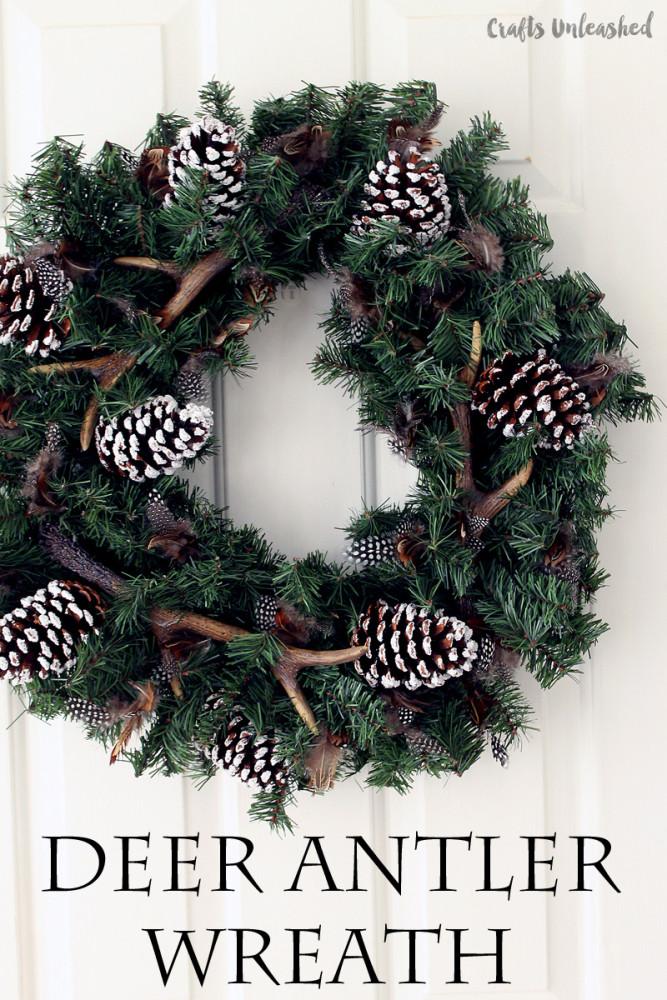 DIY winter wreath deer antler wreath Crafts Unleashed