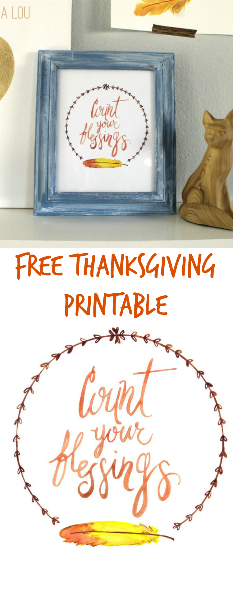 Free Count Your Blessings Watercolor Printable! Print out on the computer and add to a picture frame. Great Thanksgiving decor! | OHMY-CREATIVE.COM