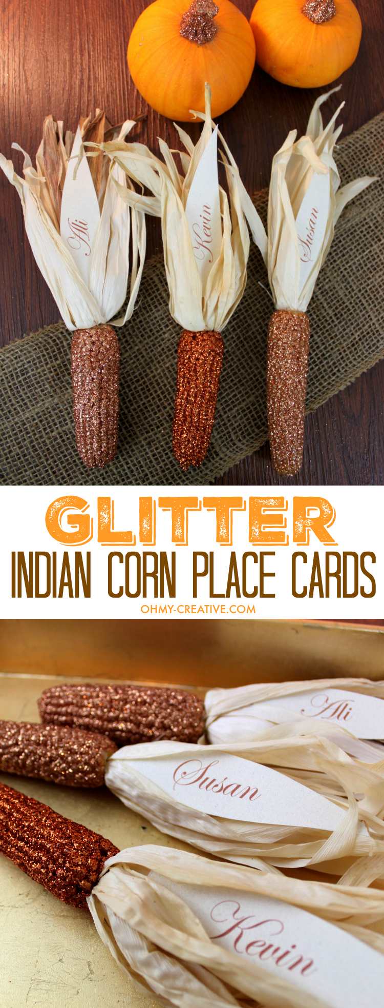 Thanksgiving will sparkle with these Glitter Indian Corn Place Cards  |  OHMY-CREATIVE.COM