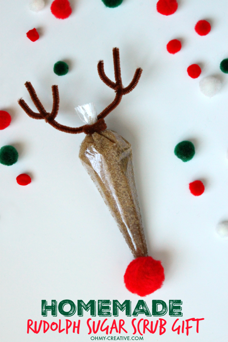 Homemade rudolph sugar scrub gift oh my creative this homemade rudolph sugar scrub gift using essential oils is so easy to make and just negle Choice Image