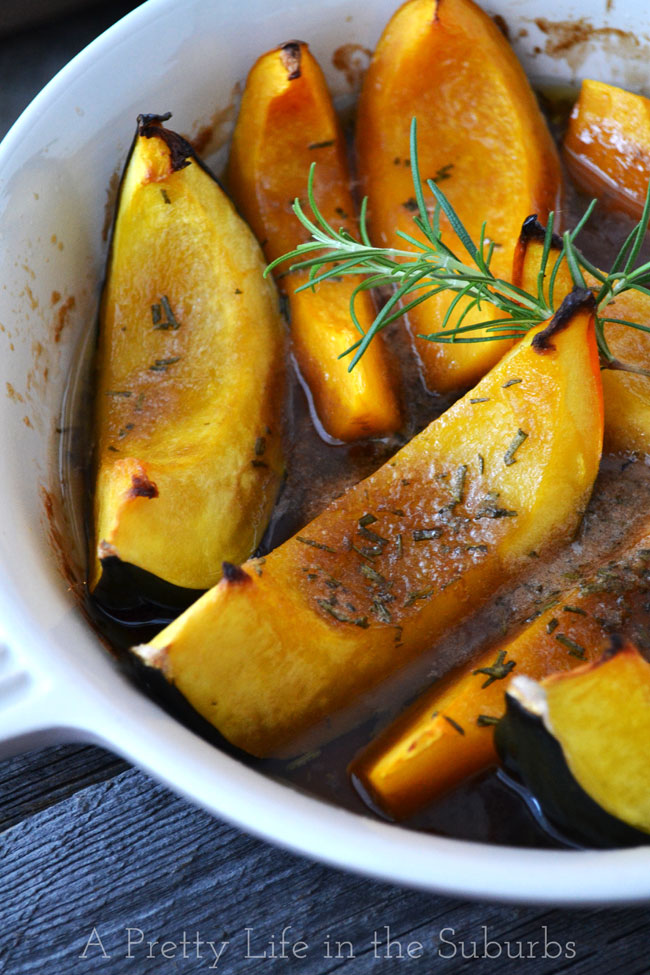 Roasted Brown Sugar & Rosemary Squash Wedges | A Pretty Life