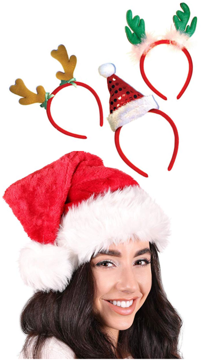 Girl/women wearing a santa hat. Christmas headbands for women also pictured