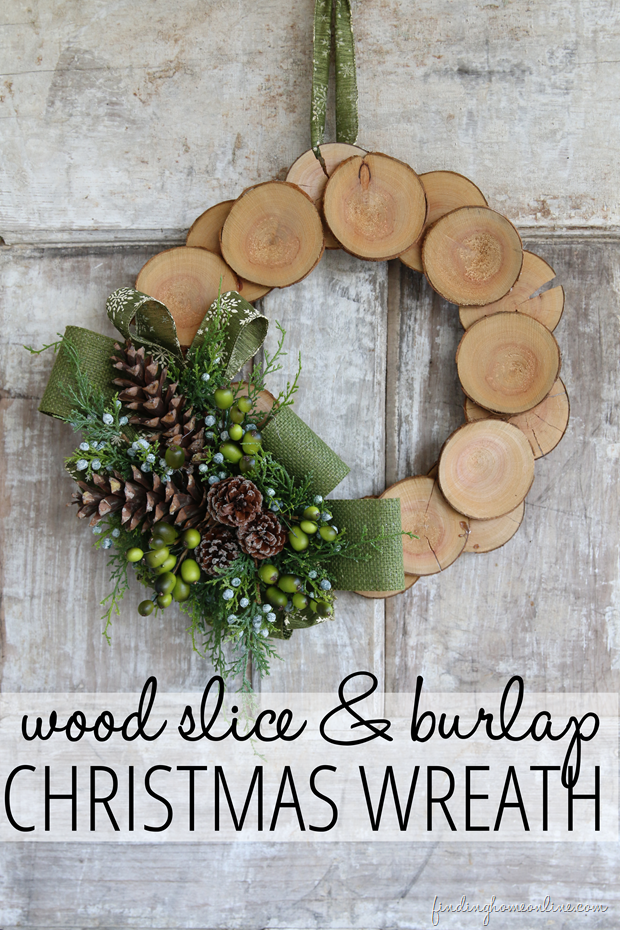 Wood Slice and Burlap Christmas Wreath