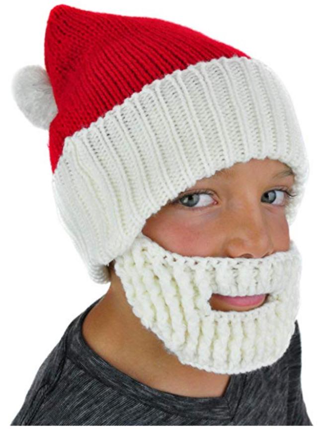 Boys/mens knit santa hat and beard.