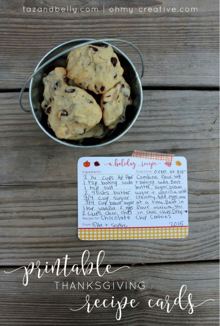 These Free Printable Thanksgiving Recipe Cards are perfect to pass down a family recipe, share a new dessert with friends, or even print multiples and tie them up with twine as an adorable gift. | Taz & Belly for OHMY-CREATIVE.COM