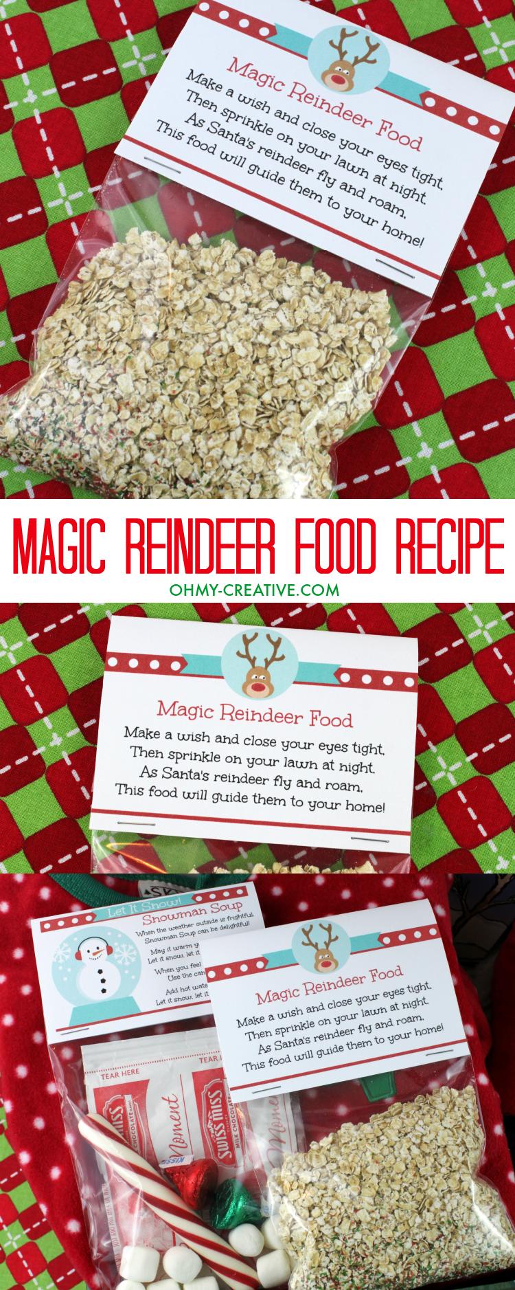 Magic Reindeer Food Recipe and printable bag topper.