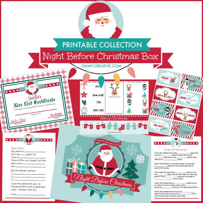 Christmas box printable collection includes 18 christmas themed