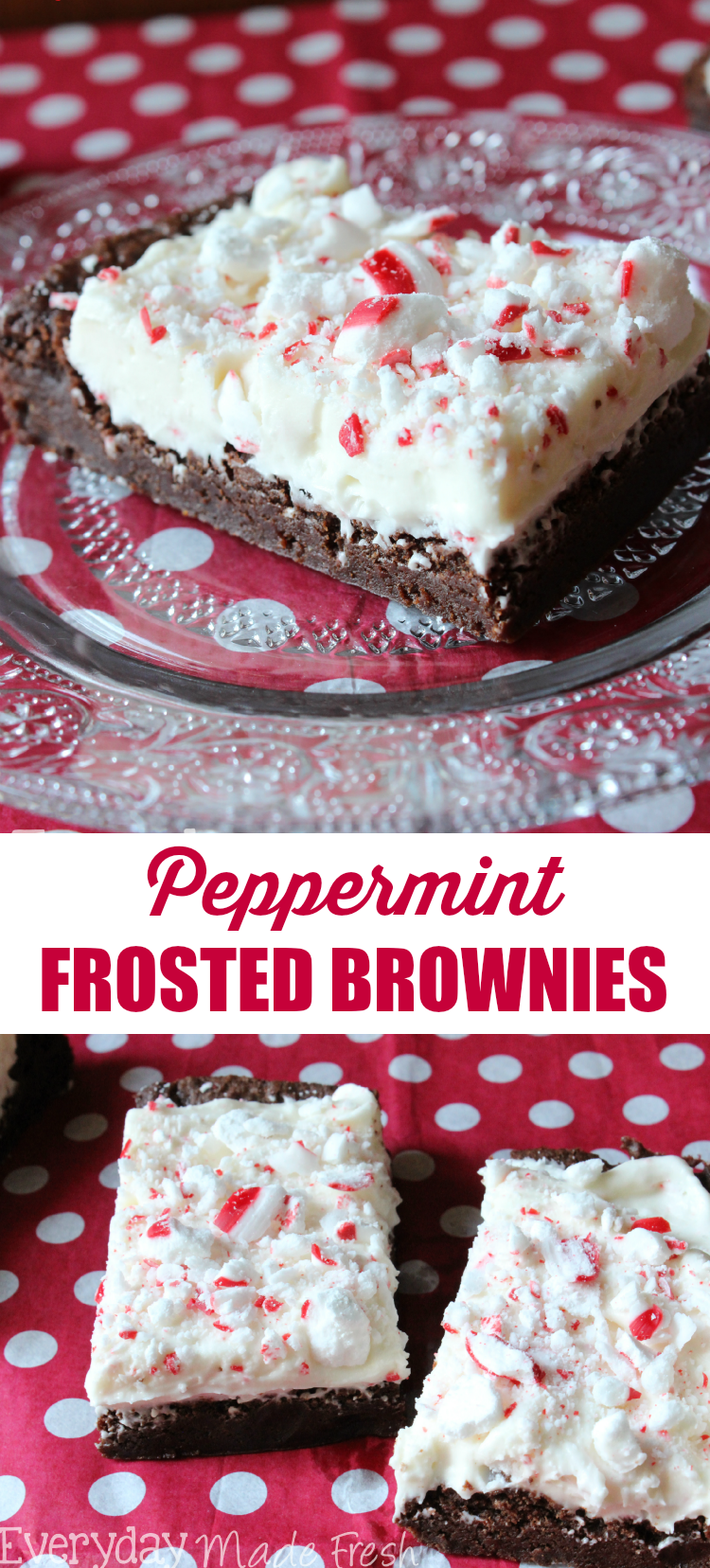 These Peppermint Frosted Brownies are made from a simple homemade mix, and topped with a cream cheese peppermint frosting that make them delectable! EverydayMadeFresh.com for OHMY-CREATIVE.COM
