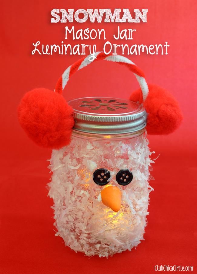 Snowman Mason Jar Luminary Ornament