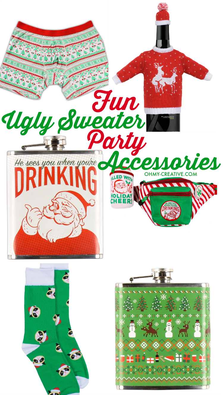 Step up your ugly style with a few of these Ugly Sweater Party accessories! | OHMY-CREATIVE.COM