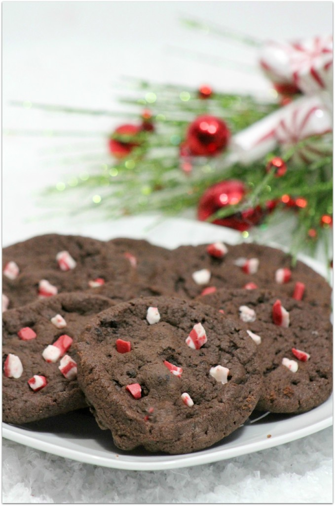 double choc peppermint cookies