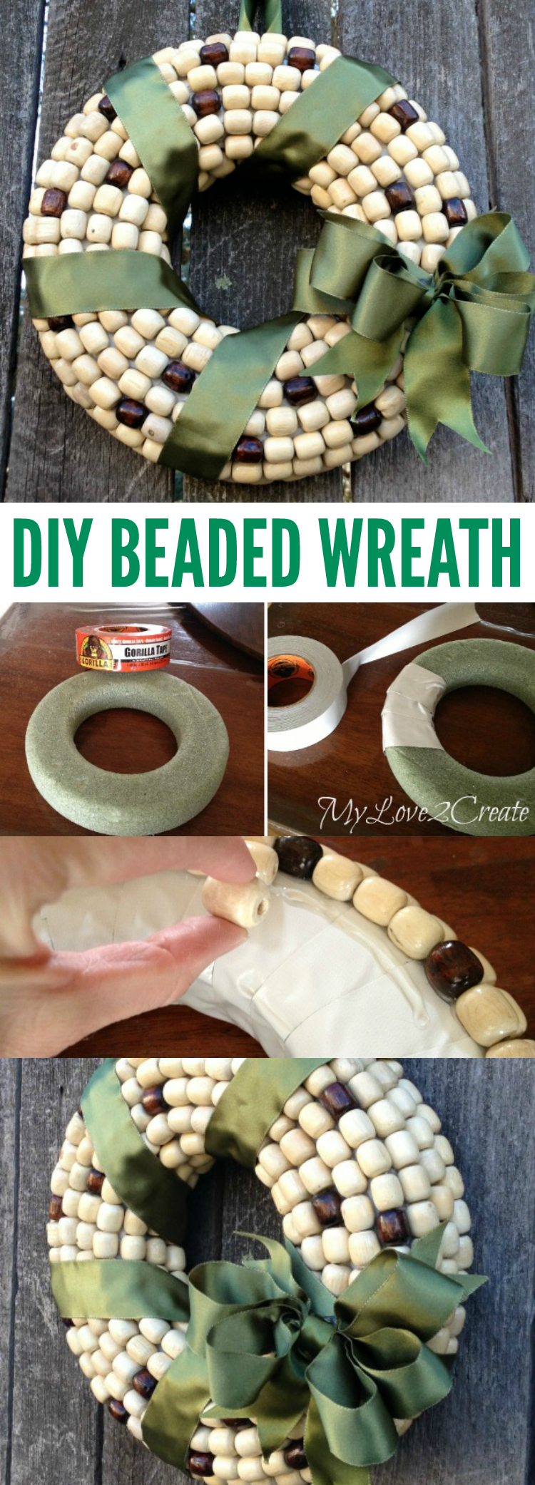 Repurpose extra beads with glue and ribbon into a pretty DIY Beaded Wreath | My Love 2 Create for OHMY-CREATIVE.COM