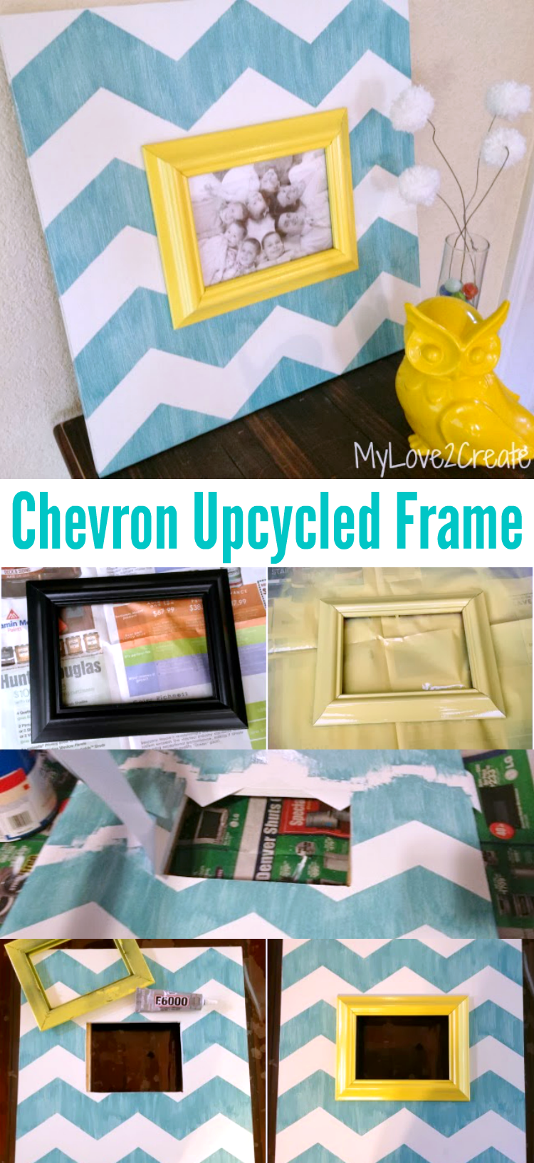 DIY Chevron Upcycled Picture Frame   OHMY-CREATIVE.COM