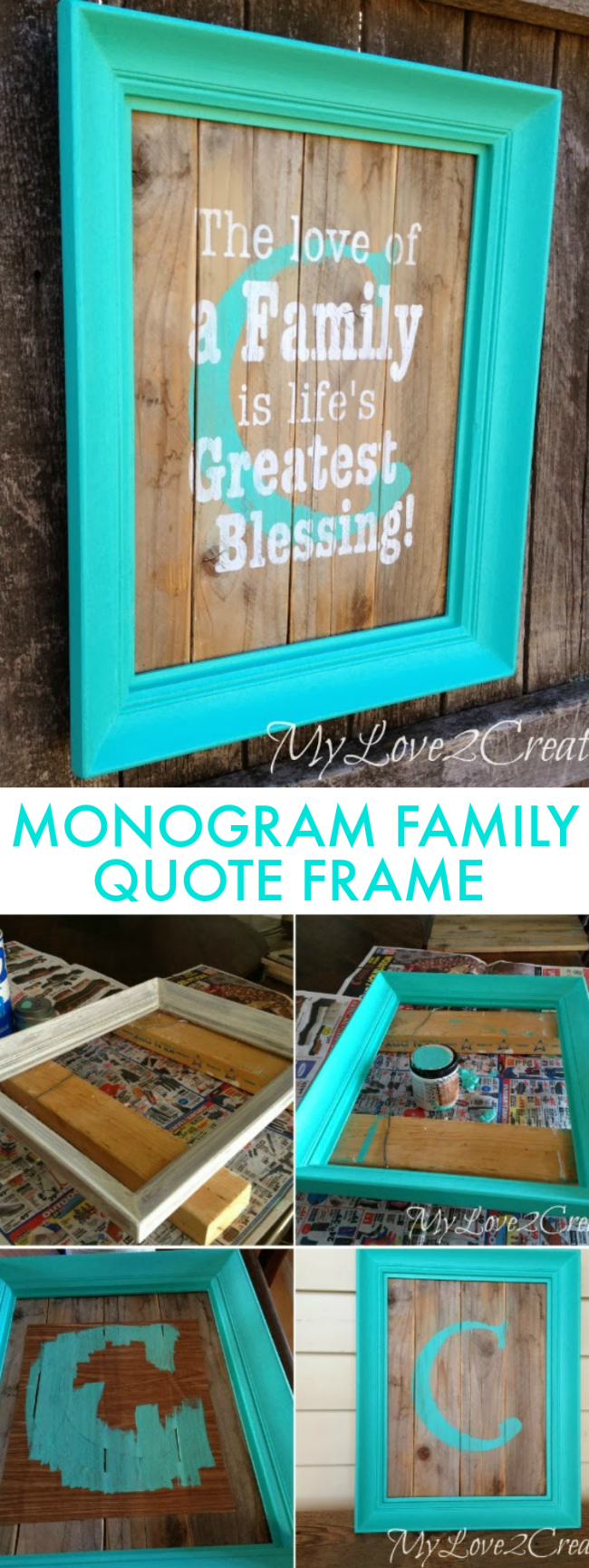 diy monogram frame with family quote