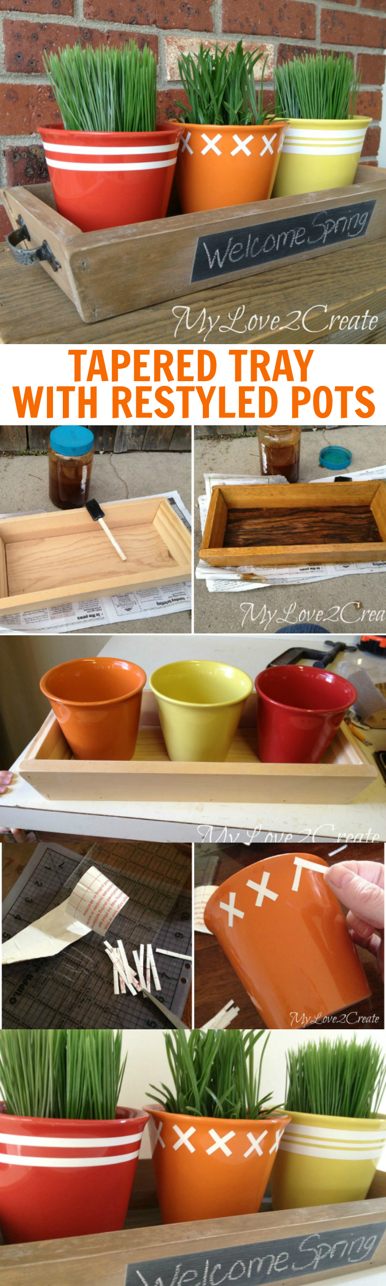 DIY Tapered Tray and Dollar Store Pots Restyled With Contact Paper   My Love 2 Create for OHMY-CREATIVE.COM