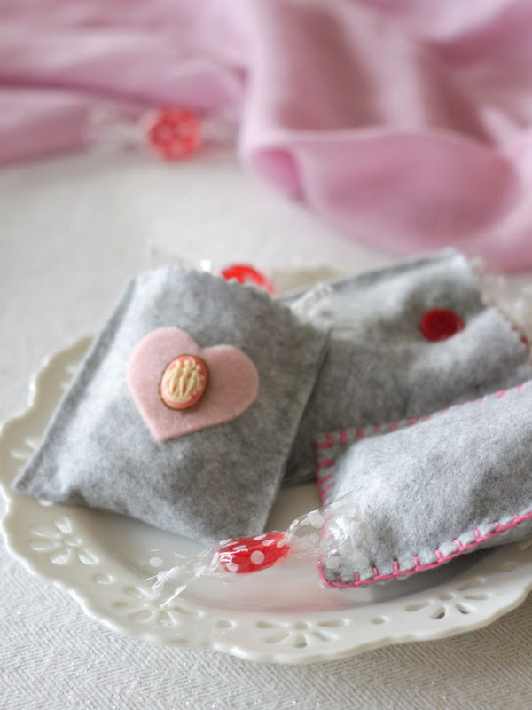 Grey Felt Valentine's Day Treat Bags