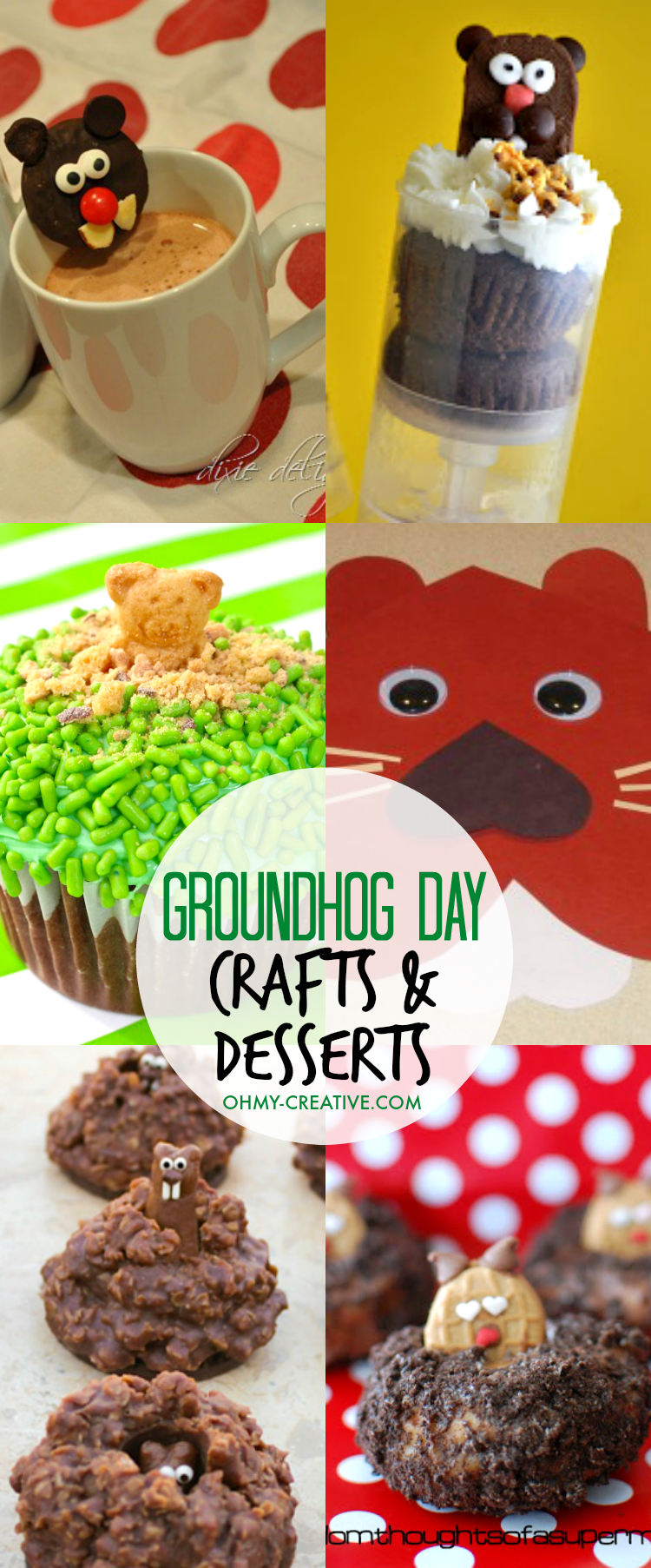 Fun Groundhog Day Kids Crafts and Desserts! Adorable Groundhog Day preschooler ideas or Groundhog Day kindergarten ideas too! | OHMY-CREATIVE.COM