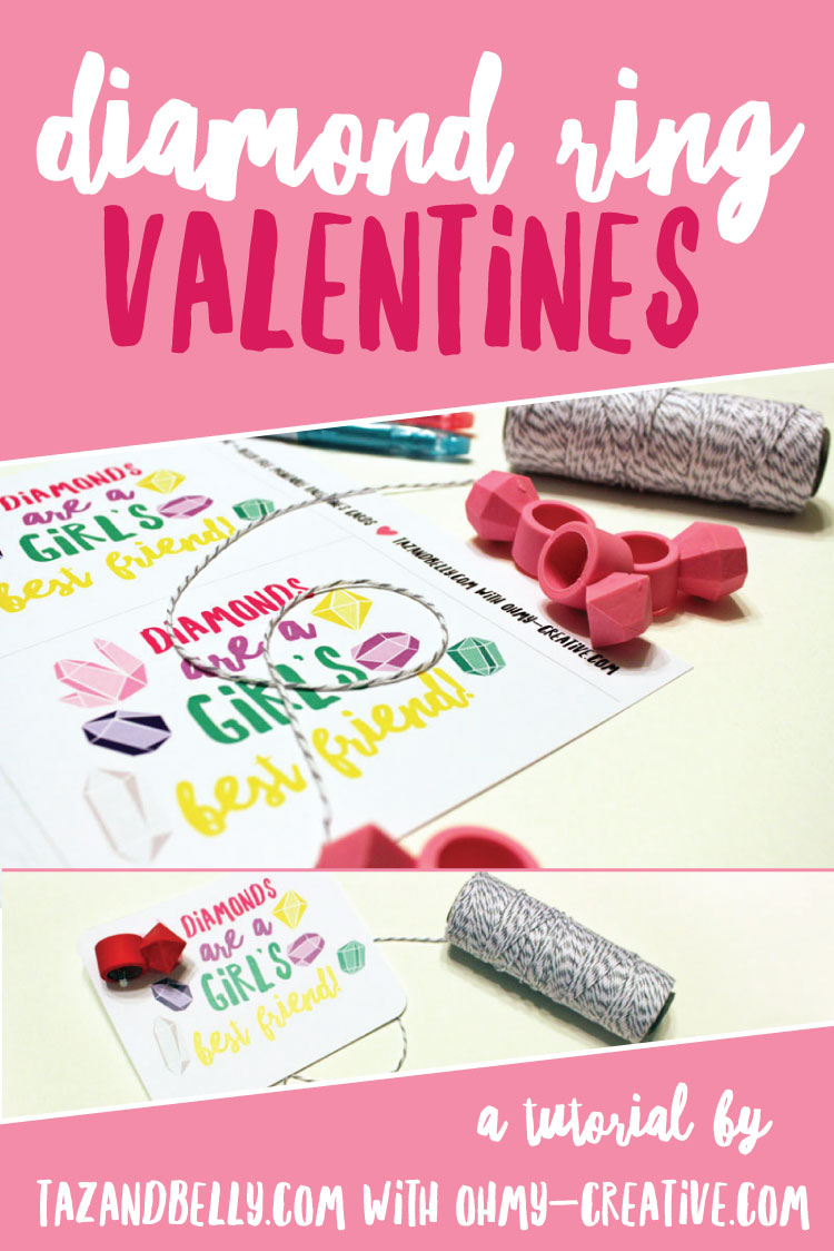 These DIY Diamond Ring Valentines with free printable are a real gem! A little girly and cute with just enough bling for friends and classmates! | ohmy-creative.com