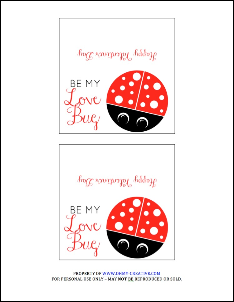 love bug printable valentine's day cards - oh my creative, Ideas