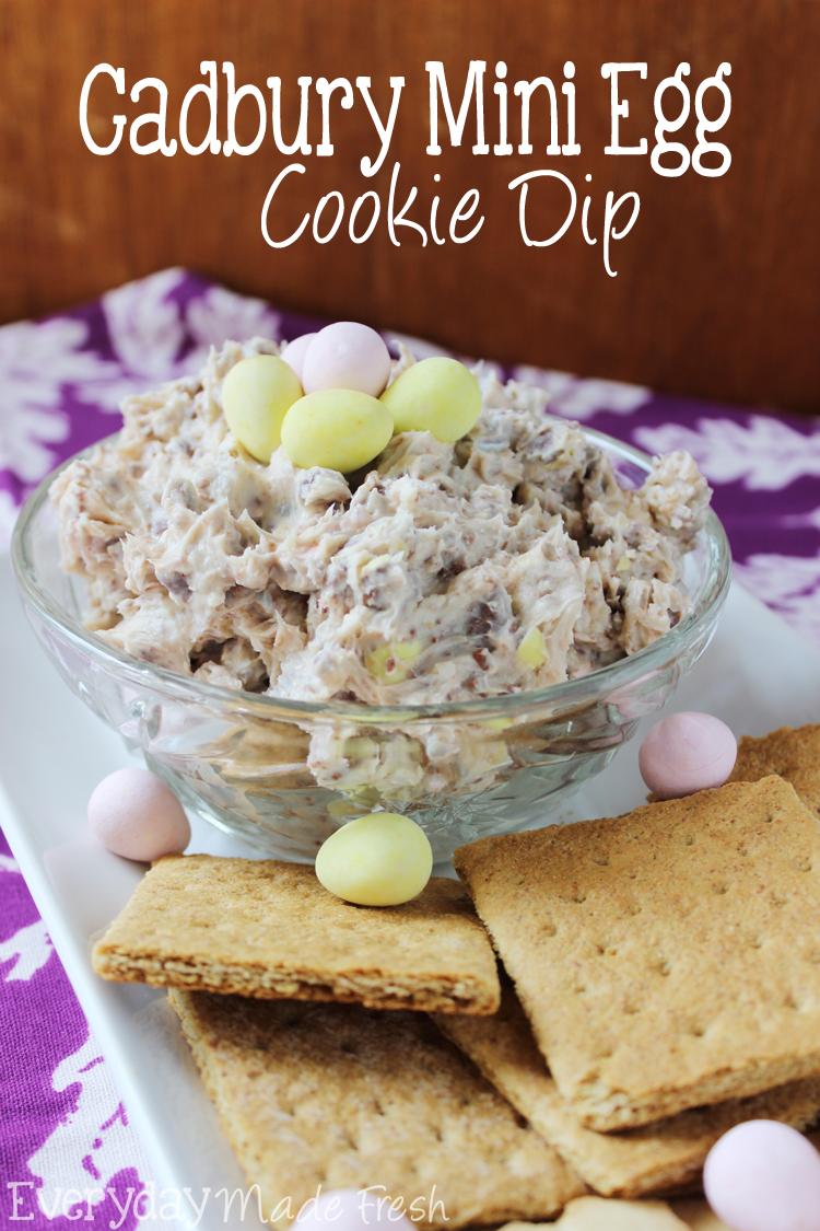 A cookie dough dip made with cream cheese, powdered sugar, and Cadbury Mini Eggs! This Cadbury Mini Egg Cookie Dough Dip is perfect for Easter! OHMY-CREATIVE.COM