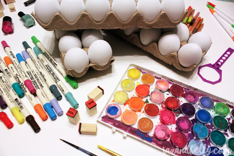 These DIY Painted Easter Egg Designs can be made using art supplies you already have on-hand. Use paper eggs and you'll be able to use them year after year!   OHMY-CREATIVE.COM