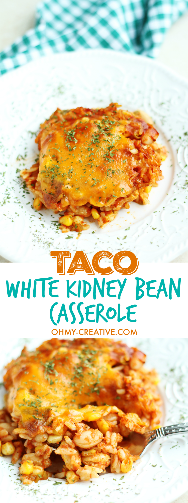White Kidney Beans Taco Casserole Recipe - Vegetarian Taco casserole recipe with white kidney beans, rice, corn and cilantro topped with cheddar cheese. Perfect for weeknight dinner I OHMY-CREATIVE.COM