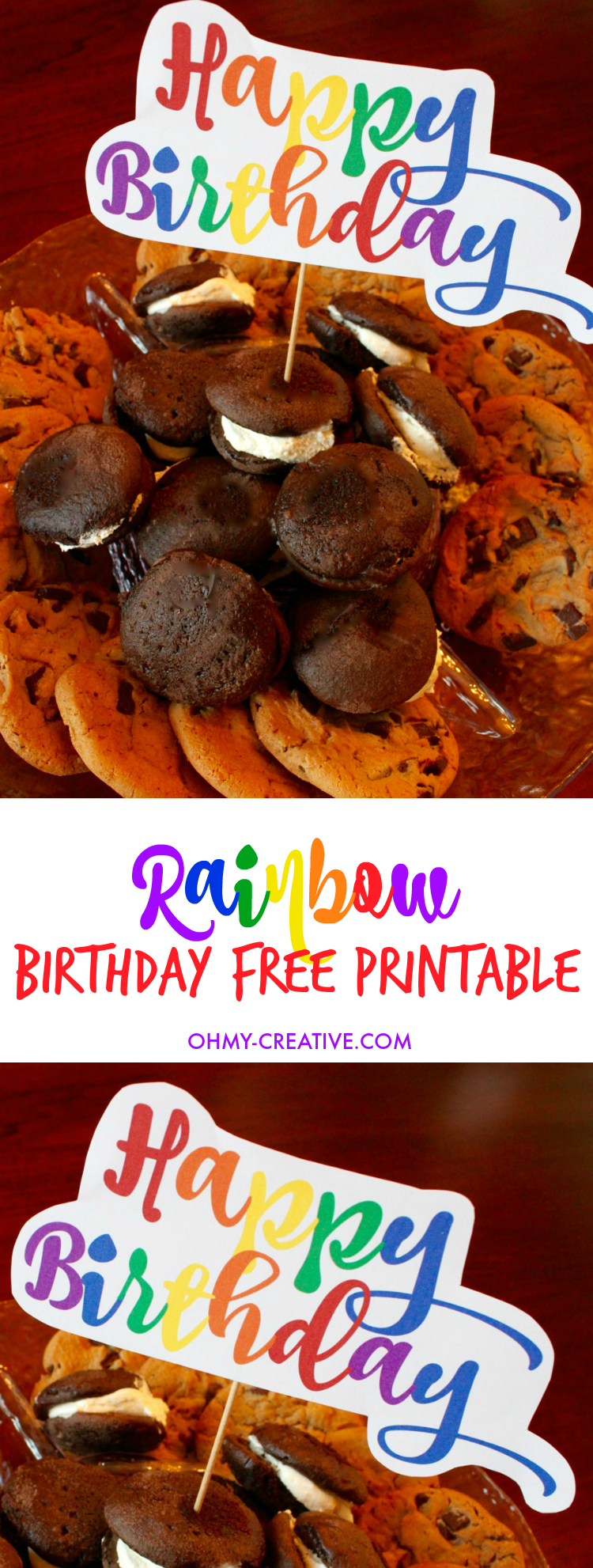 Celebrate with this Free Rainbow Happy Birthday Printable Treat Topper perfect for birthday parties, birthday cakes or any birthday treats! A great BIRTHDAY FREE PRINTABLE! | OHMY-CREATIVE.COM
